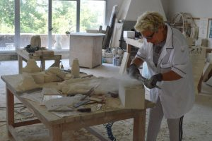 Natalia at work in her studio